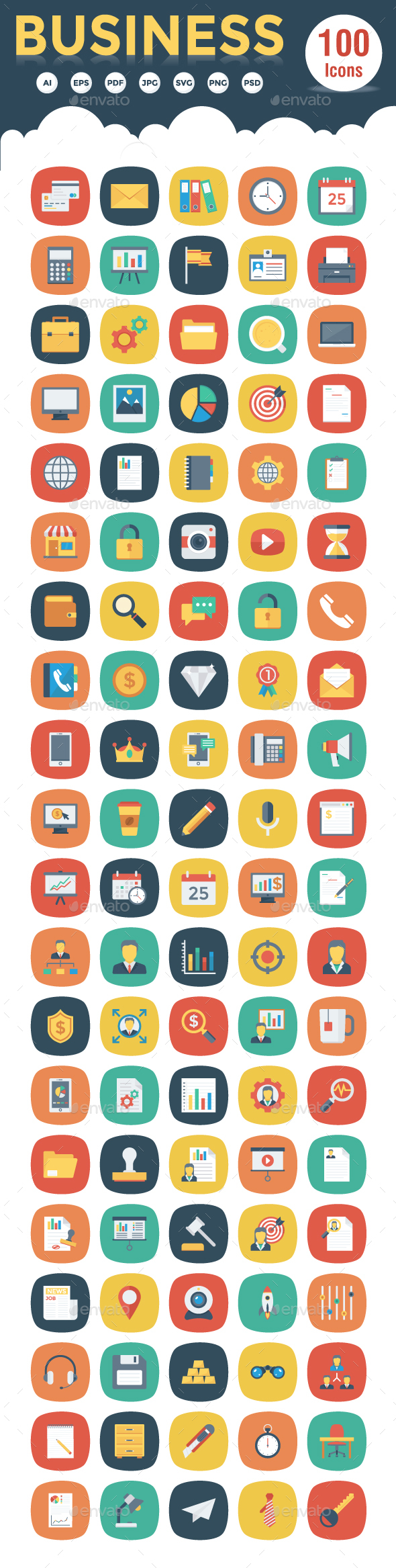 100 Business Flat Square Icons - Business Icons