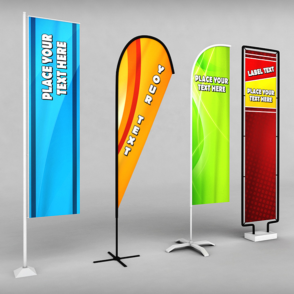 Banner commercial flag stand pack low poly - 3DOcean Item for Sale