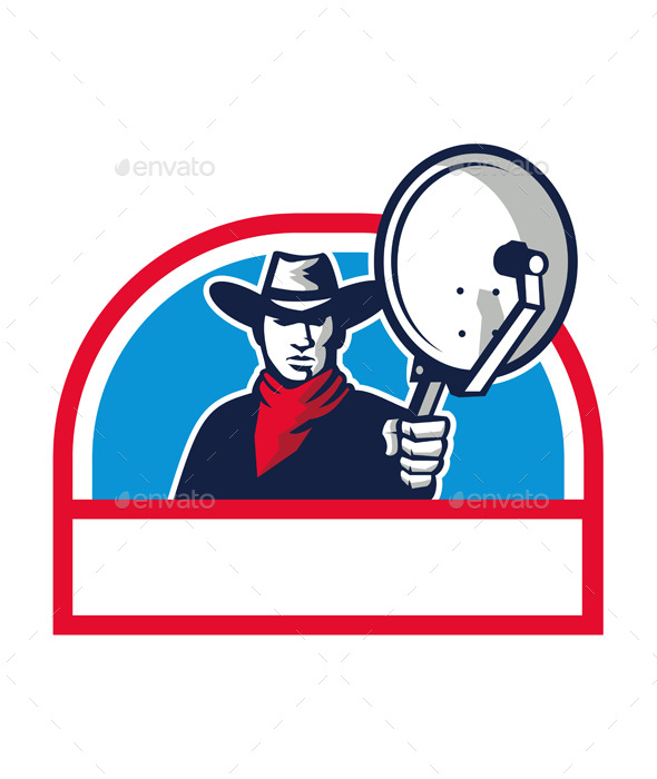 Cowboy Aiming Satellite Dish Half Circle Retro - People Characters
