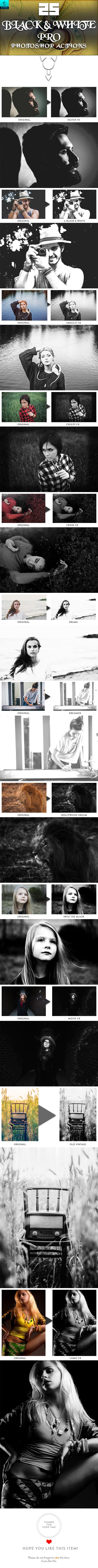 25 Black & White PRO Photoshop Actions - Actions Photoshop