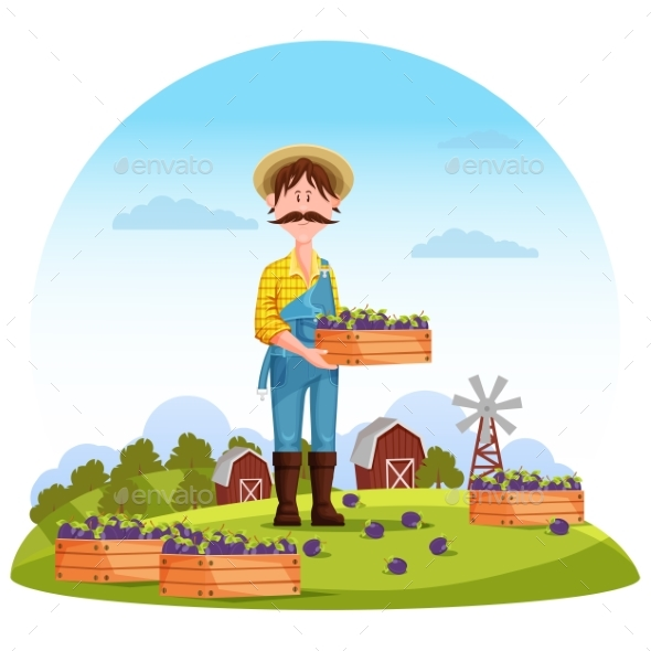 Agriculture Man on Field Farmer Harvester - People Characters