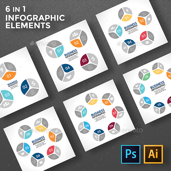 Circles Infographic. 6 in 1. PSD, EPS, AI. - Infographics