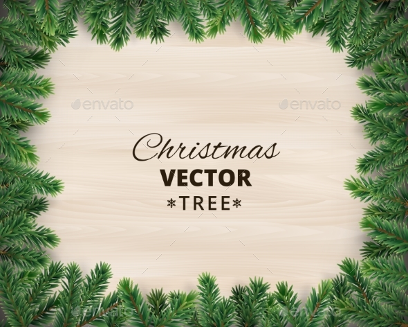 christmas tree branches on wooden background christmas seasonsholidays - Christmas Tree Branches