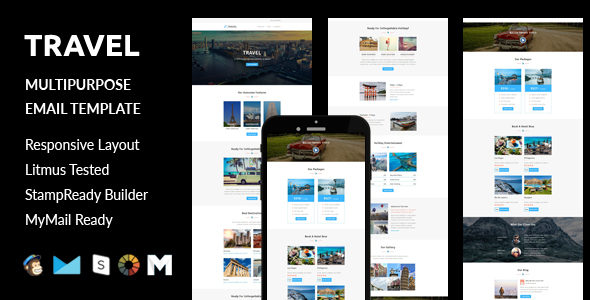 Travel – Multipurpose Responsive Email Template with Stampready Builder access