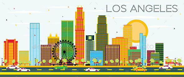 Los Angeles Skyline with Color Buildings - Buildings Objects