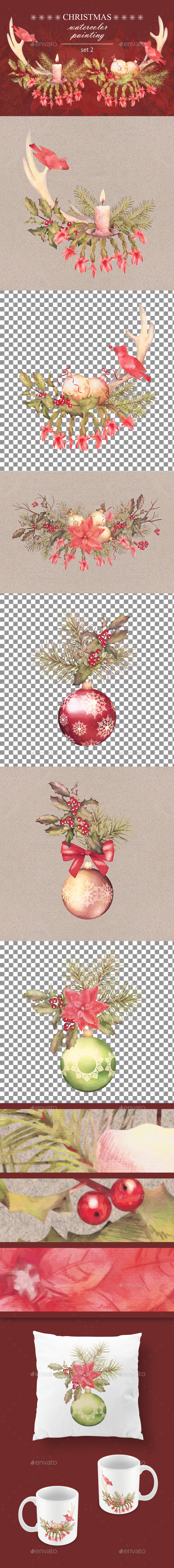 Watercolor Christmas Set - Objects Illustrations