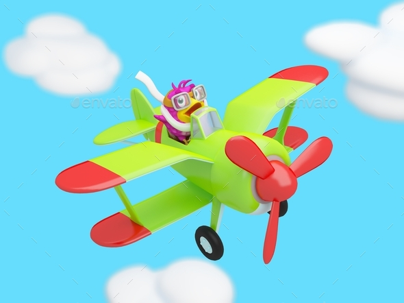 Cartoon Bird Flying in the Clouds on a Plane - Characters 3D Renders