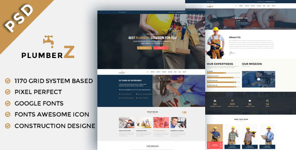 PlumberZ  - Construction & Building PSD Templates - Business Corporate