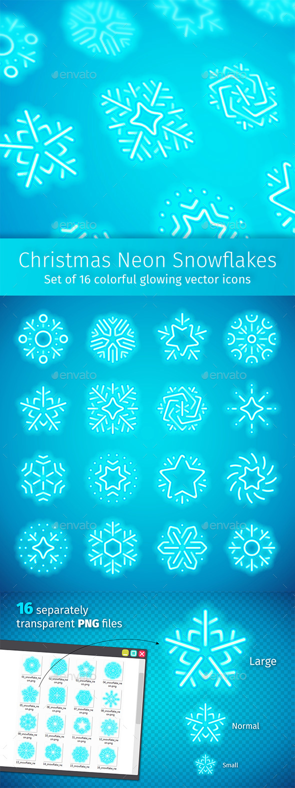 Christmas Neon Snowflakes - Seasonal Icons