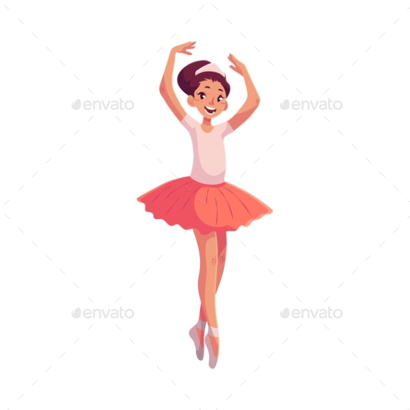 Little Ballerina in Pink Tutu Standing on Toes - People Characters