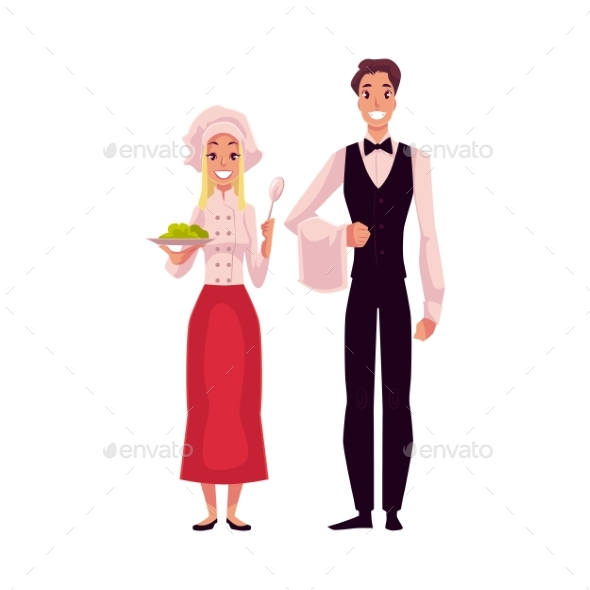 Waiter in Uniform and Cook - People Characters