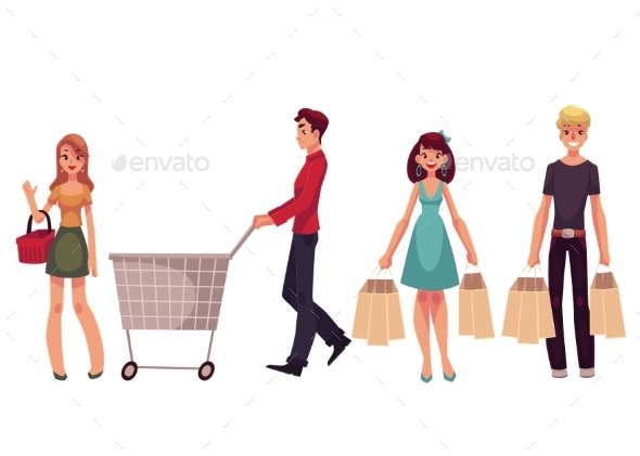 Young Men and Women with Shopping Bags - People Characters