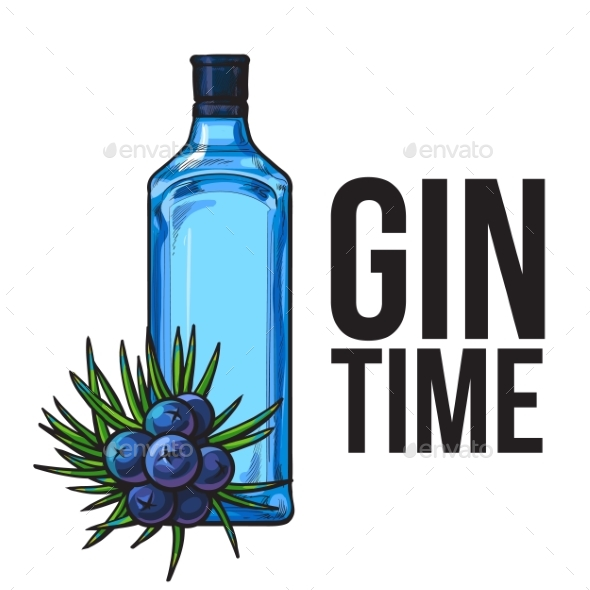 Blue Glass Gin Bottle and Juniper Berries - Flowers & Plants Nature