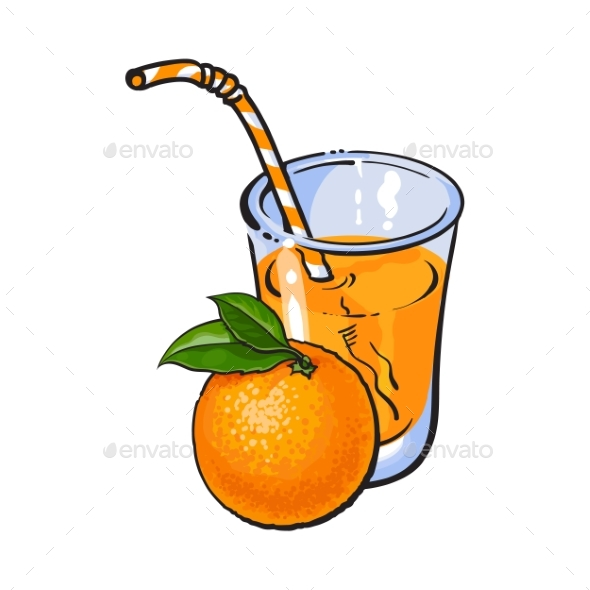 Glass of Freshly Squeezed Juice with Orange - Food Objects