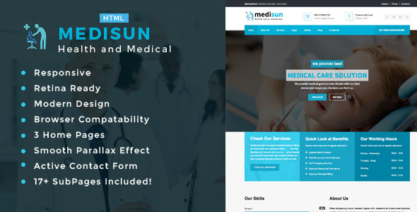 Medisun – Health And Medical HTML Template