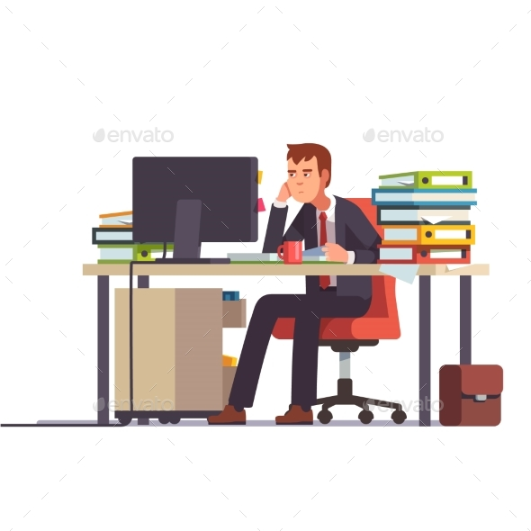Overworked and Tired Accountant - Concepts Business