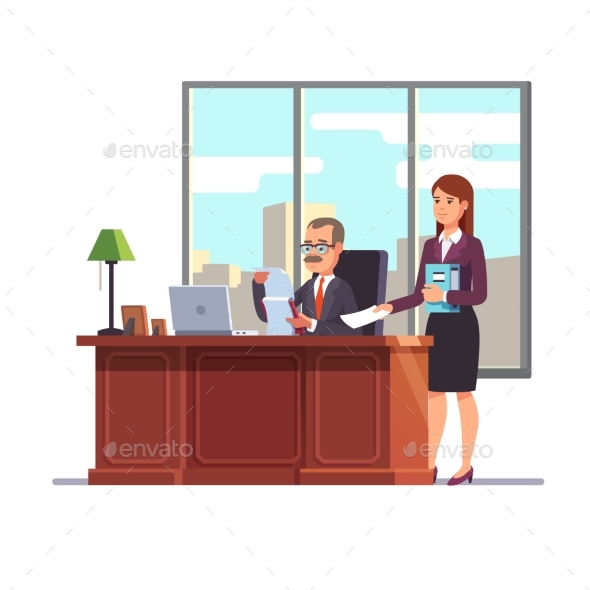Business Executive with a Secretary at His Desk - Concepts Business