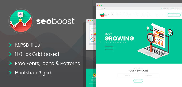 SEO Boost - SEO/Digital Company PSD Template - Business Corporate