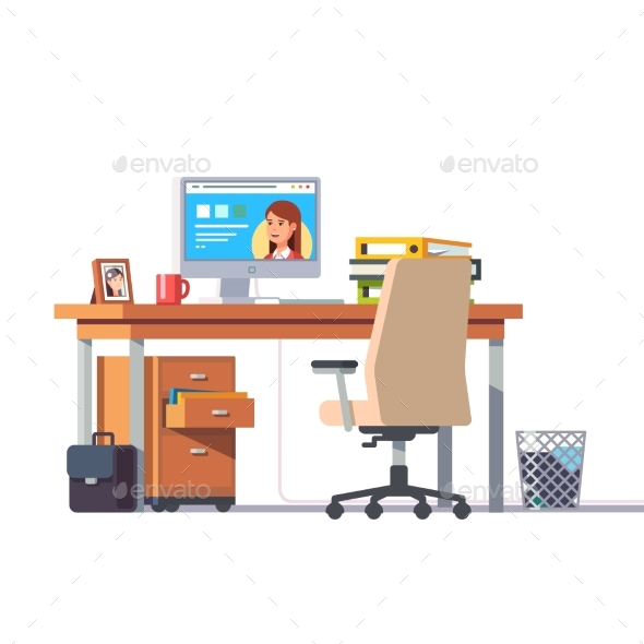 Office Desk with a Computer - Computers Technology