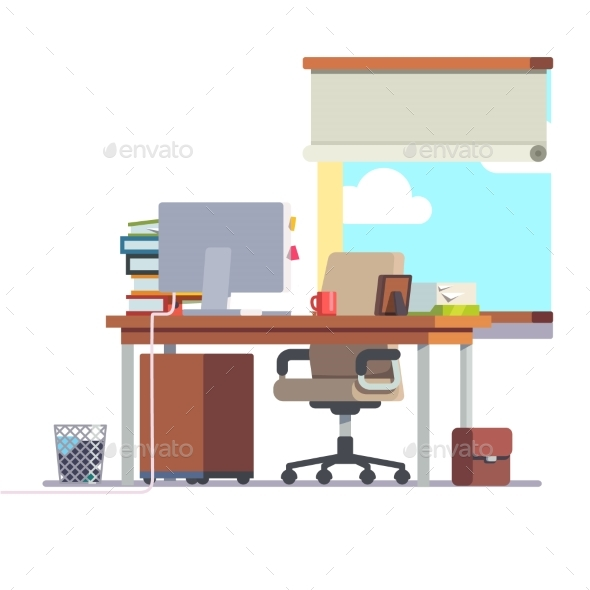 Workplace Office Desk with a Computer - Concepts Business