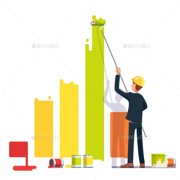 Business Man Painting Bar Graph with Roller Paint - Concepts Business