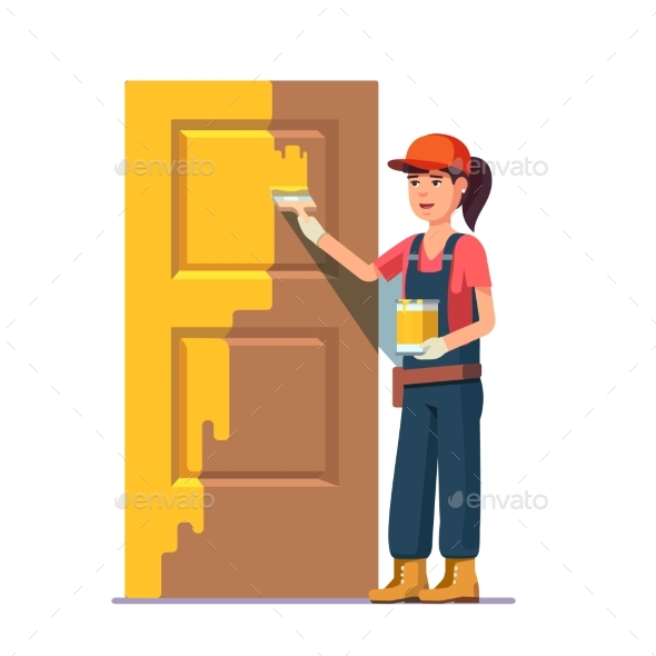 Professional Painter Painting Door in Yellow Color - People Characters