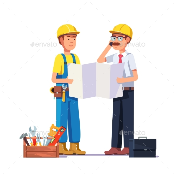 Carpenter Talking with Foreman or Architect - People Characters