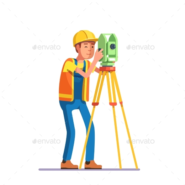Land Survey and Civil Engineer Working - People Characters