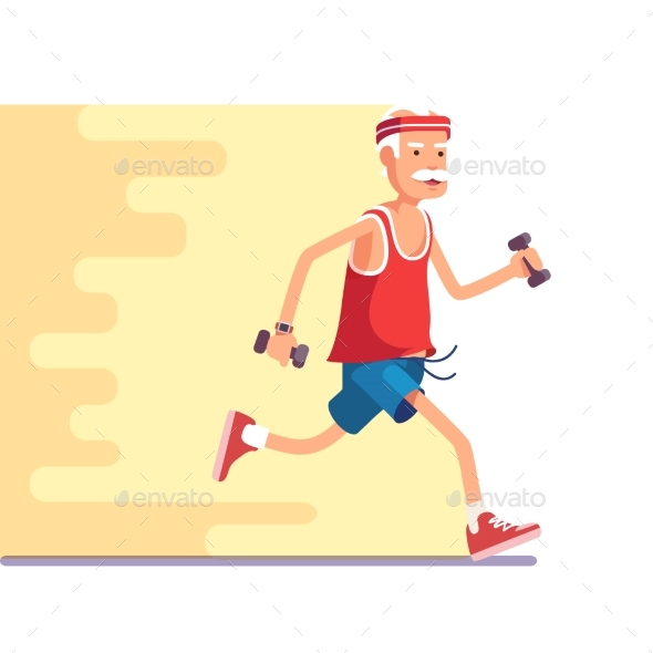Fit Elderly Man Jogging with Dumbbells in Hands - Sports/Activity Conceptual