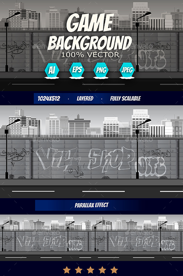 Game Background in Black and White Colours - Backgrounds Game Assets