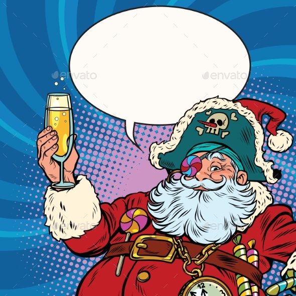 Santa Claus Pirate Champagne Toast - Christmas Seasons/Holidays