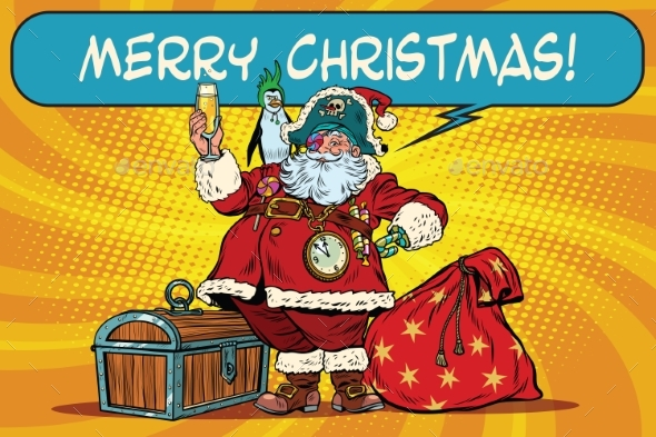 Santa Claus Pirate Wishes Merry Christmas - Christmas Seasons/Holidays
