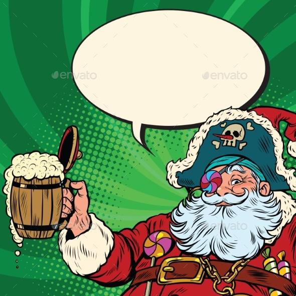 Santa Claus Beer in the Irish Pub - Christmas Seasons/Holidays