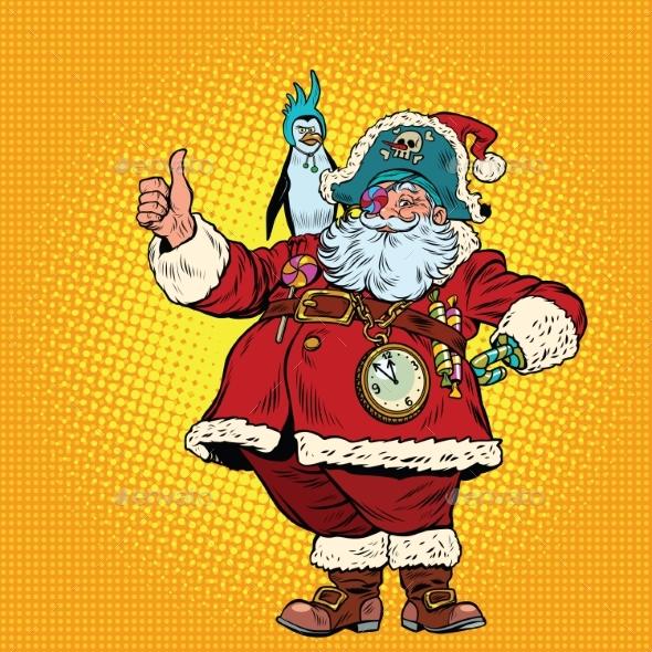 Santa Claus Pirate Thumb Up - Christmas Seasons/Holidays