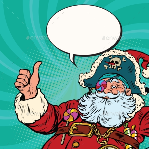 Santa Claus Pirate Wishes Merry Christmas - People Characters