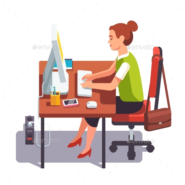 Clerk Woman Working on a Desktop Computer - Industries Business
