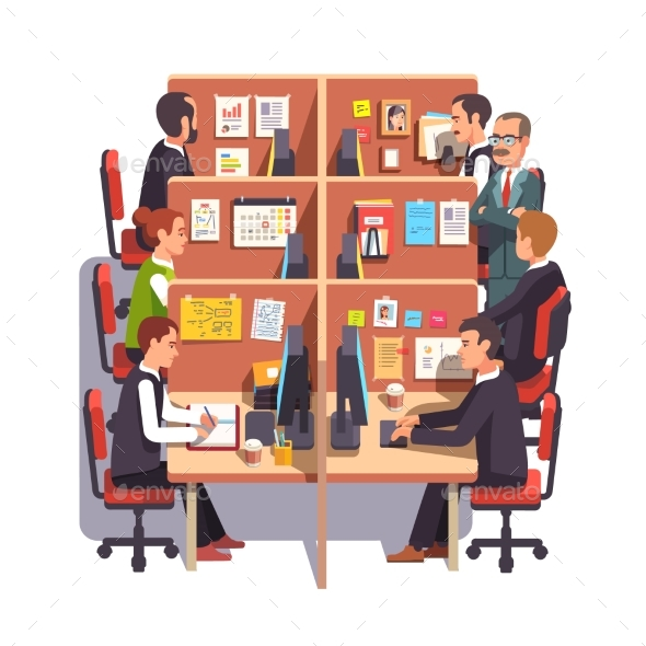 Cubicle Office Work Space with Employees - Concepts Business