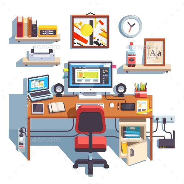 Professional Designer Working Desk - Computers Technology