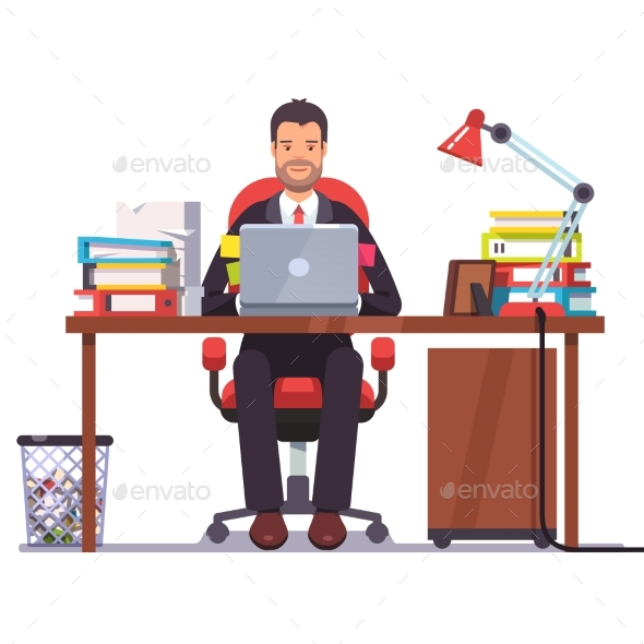 Business Man Entrepreneur in a Suit Working - People Characters