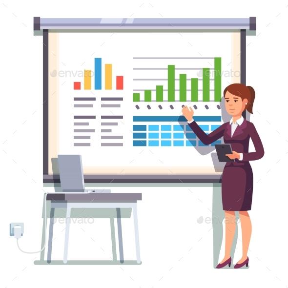Business Woman Giving a Speech - Concepts Business
