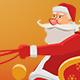 Cartoon Santa Claus Riding On Sleigh
