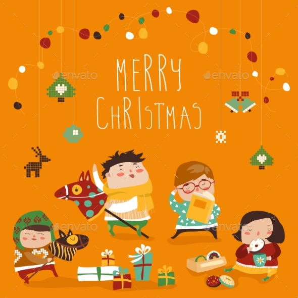 Card with Kids and Christmas Presents - Christmas Seasons/Holidays
