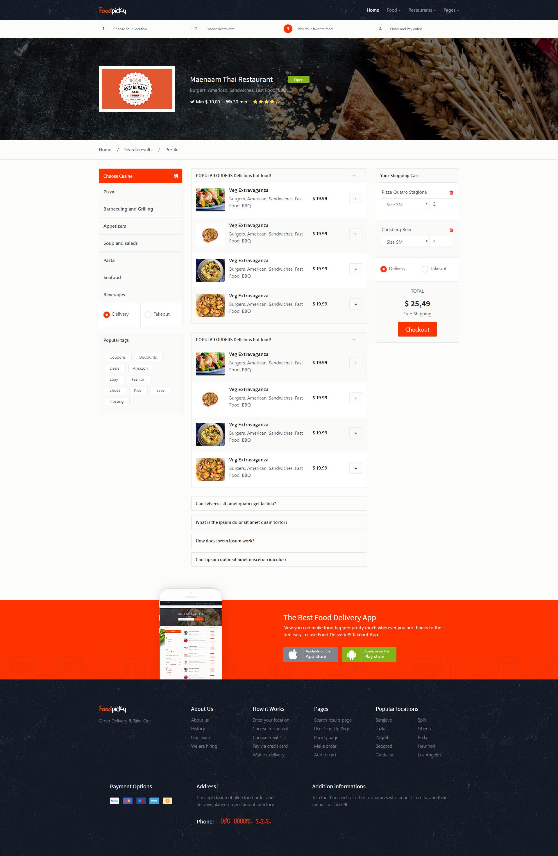 Online food ordering from local restaurants - Restaurants directory