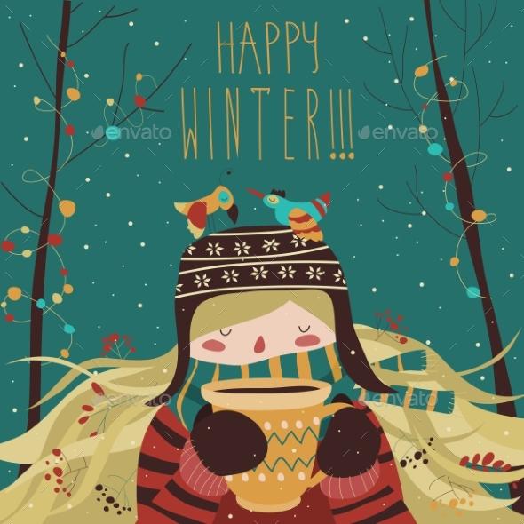Winter Cartoon Girl with Coffee - New Year Seasons/Holidays