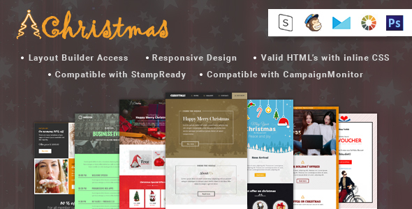 Christmas and eCommerce-Responsive Email Template + Stampready builder