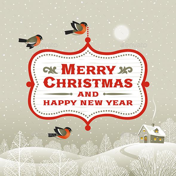 Christmas Signboard Over Winter Landscape - Christmas Seasons/Holidays