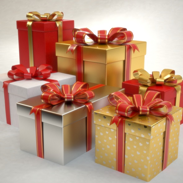 gift boxes set Christmas - 3DOcean Item for Sale