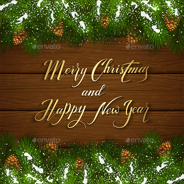 Christmas Lettering on Wooden Background with Fir Tree Branches - Christmas Seasons/Holidays
