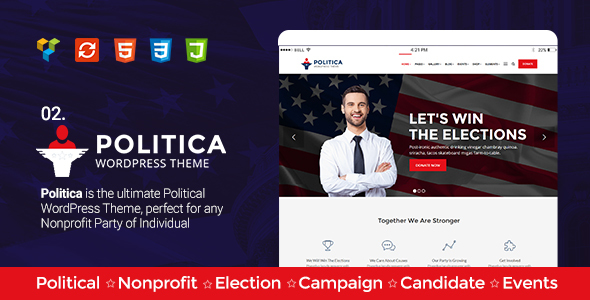 Political, Activism/Causes, Campaign, Election, Non-Profit, Charity & Donations - Politica Theme