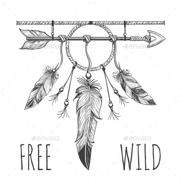 Native American Accessory with Arrow - Miscellaneous Conceptual